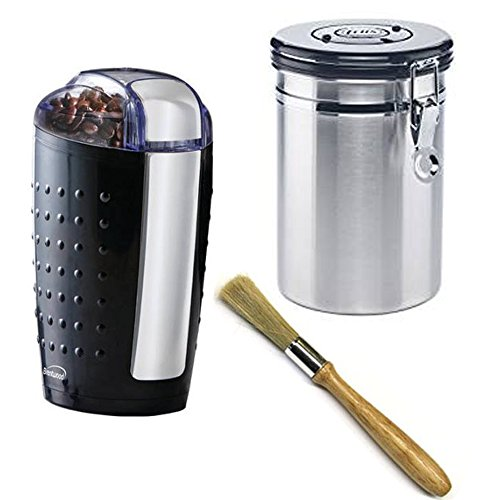 Electric coffee beans grinder with (1) airtight coffee container and (1) coffee machine cleaning brush