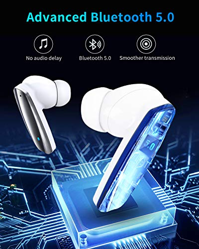 IFECCO Wireless Earbuds, Bluetooth 5.0 Headphones in-Ear Headsets with Mic, Touch Control, USB-C Fast Charging Case,24 Hrs Playtime, Low Latency Stereo Earphones for Gaming, Sport