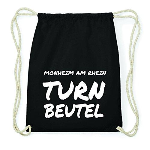 JOllify MONHEIM AM RHEIN Hipster Turnbeutel Tasche Rucksack aus Baumwolle - Farbe: schwarz Design: Turnbeutel