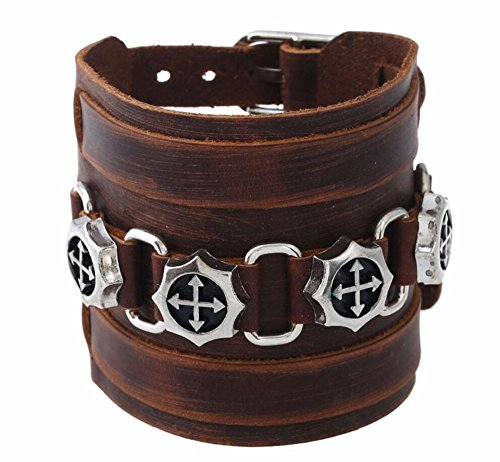 7Buy Both Men and Women Style Cool Buckle Rivet Genuine Leather Cuff Wristband Bracelet Bangle (Band Rivets)