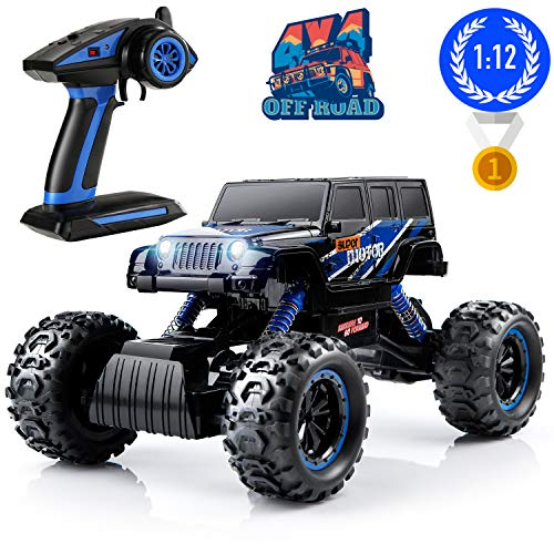 Remote Control Monster Trucks, PinSpace Electric RC Cars 1:12 Scale Off Road Truck with Full-Time 4-Wheel Drive System, 4 Shock Absorbers, Digital Controller for Kids Age 8 Years and Up (1 8 Scale Rc Electric Trucks)