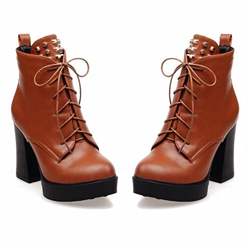 Fashion High up Vintage Carolbar Lace Boots Heel Platform Martin Womens Yellow Chunky Studded Brown Rivet Retro HnwqwAFy5