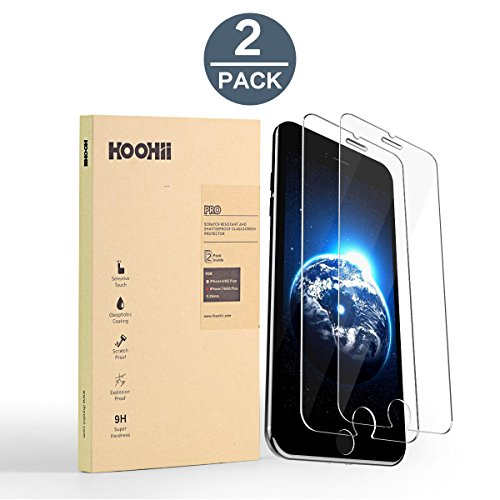 6S Plus/iPhone 6 Plus (5.5-inch) Screen Protector Glass,Tech Armor HOOHII Tempered Glass (0.26mm),9H Hardness Bubble Free, Anti-Fingerprint, Oil Stain(2 pack) ()