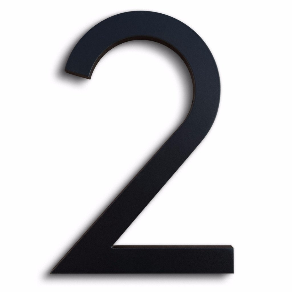 Amazon com modern house number black color aluminum modern font number two 2 6 inch address plaques garden outdoor