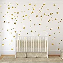 Gold Wall Decal Stars (123 Decals) | Easy to Peel Easy to Stick + Safe on Painted Walls | Removable Metallic Vinyl Star Decor |Star Sticker Large Paper Sheet Set for Nursery Room (Metallic Gold)