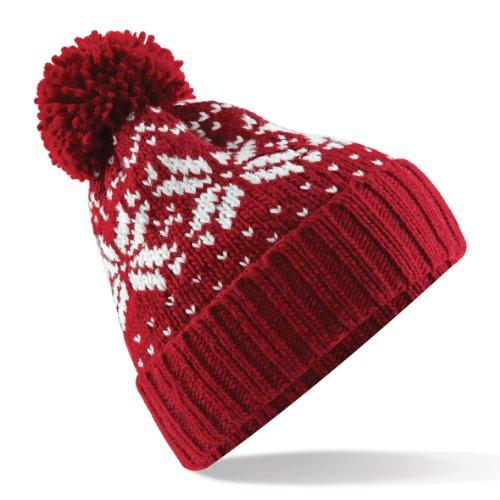 - Beechfield Unisex Fair Isle Snowstar Winter Beanie Hat (One Size) (Classic Red/White)