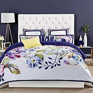 3 Piece High End Floral Print Design Full Queen Size Comforter Set Elegant Tropical Flowers