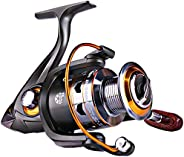 Sougayilang Spinning Fishing Reels with Left/Right Interchangeable Collapsible Wood Handle Powerful Metal Body