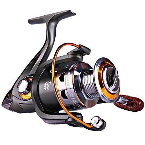 Sougayilang Spinning Fishing Reels with Left/right Interchangeable Collapsible Wood Handle 5.2:1/5.1:1 Gear Ratio Smooth 11BB For Inshore Boat Rock Freshwater Saltwater Fishing (11BB 5.2:1 (About Catfish Pond)