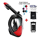 180° Snorkel Mask view for Adults and Youth. Full Face Free Breathing Design.[Free Bonuses] Cell Phone Universal Waterproof Case (Dry Bag) and Anti-Fog wipes (Black/Red, Small/Medium)