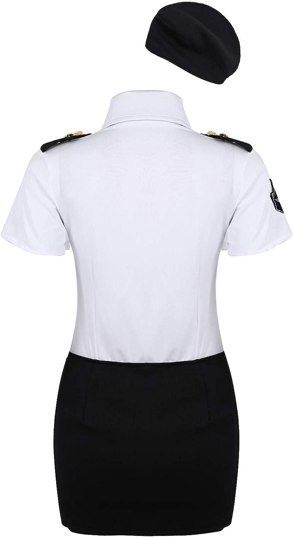 MSemis Disfraz de Policía Sexy para Mujeres Uniformes Policía 4Pcs ...