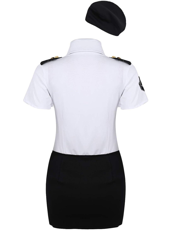 YOOJIA Mujer Uniforme de Policía Disfraz de Cosplay 4 Piezas ...
