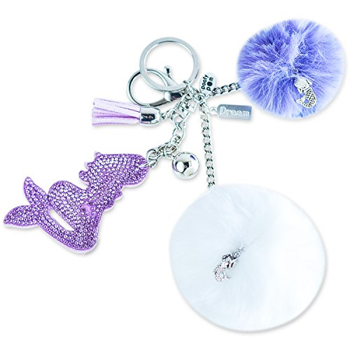 Purple Mermaid Keychain Gift for Women and Girls. Fluffy Pom Pom Keychain for Purses and Bags. Dream-Themed. ()