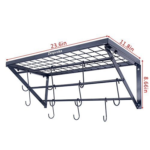 Large Product Image of ZESPROKA Kitchen Wall Pot Pan Rack,With 10 Hooks,Black