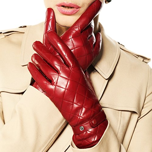 DIDIDD Women 's Sheepskin Leather Gloves Winter Warm Plus Cashmere Short Paragraph,Red,Large