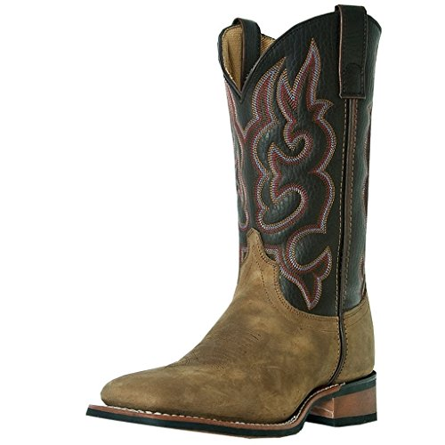 Laredo Mens Taupe Leather Lodi 11in Square Toe Stockman Cowboy Boots 15 D