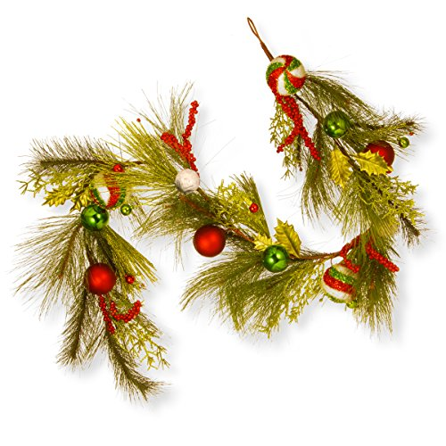 National Tree 72 Inch Christmas Ball Ornament Garland in Red and Green (RAC-16009G6) by National Tree Company