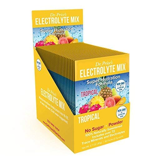 Electrolyte Mix Super Hydration Formula + Trace Minerals | New! Tropical Flavor (30 Powder Packets) Sports Drink Mix | Dr. Price's Vitamins | No Sugar, Non-GMO, Gluten Free & Vegan (Best Drink For Electrolyte Imbalance)