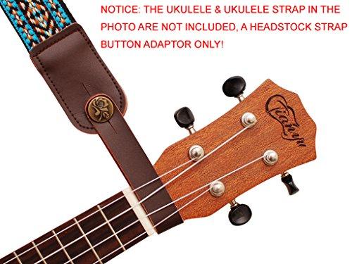 MUSIC FIRST Original Design Genuine LeatherRose Ukulele Strap Button, Strap Locks, Headstock Adapter, Strap Adapter Fit for Ukulele/Banjo/Acoustic Guitar/Acoustic Bass (Rose, Brown)