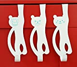 Popoye Monkey Bear Cat Animal Over the Door Hook Hanger Draw Organizer for Home, Office & Closet Storage White