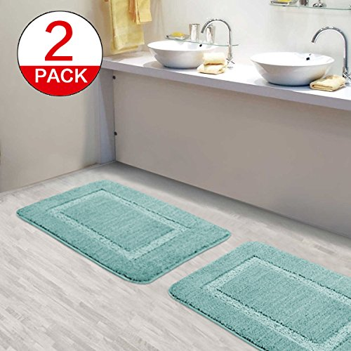 Flamingo P Kitchen Rugs and Bathroom Mats Sets Ultra Water Absorbent Super Soft Plush 17 By 24 Inch Bath Rug 2 Pieces Machine Washable Rug for Bathroom Bedroom Use, 17