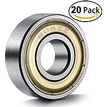 20-Pack 608 ZZ Ball Bearings , 608zz Metal Double Shielded Miniature Deep Groove Skateboard Ball Bearings (8mm x 22mm x 7mm)