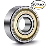 20-Pack 608 ZZ Ball Bearings , 608zz Metal Double Shielded Miniature Deep Groove Skateboard Ball Bearings (8mm x 22mm x 7mm)