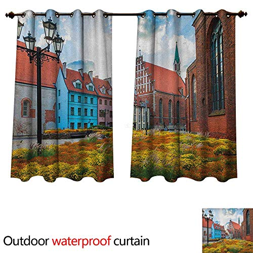 (Anshesix Victorian Outdoor Balcony Privacy Curtain Old City Riga Latvia Capital with Historical Buildings Medieval Town Image Print W72 x L72(183cm x 183cm))