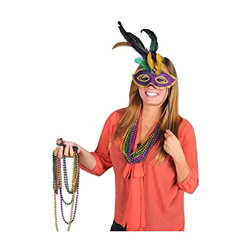 (Beistle Home Party Decoration Feathered Mask With Stick Sticks Attached- Pack Of 12)