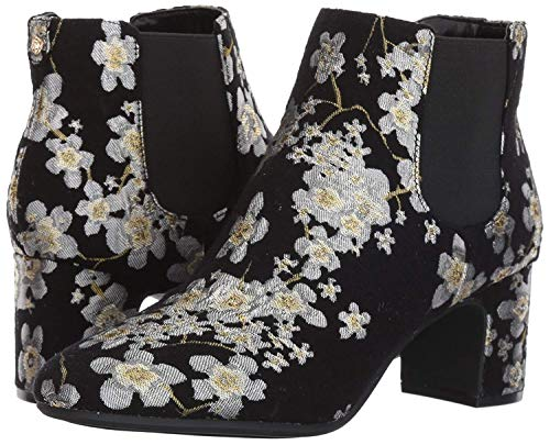 Anne Klein Women's GORGIA Fabric Ankle Boot, Black/Multi Floral, 8 M - Booties Floral