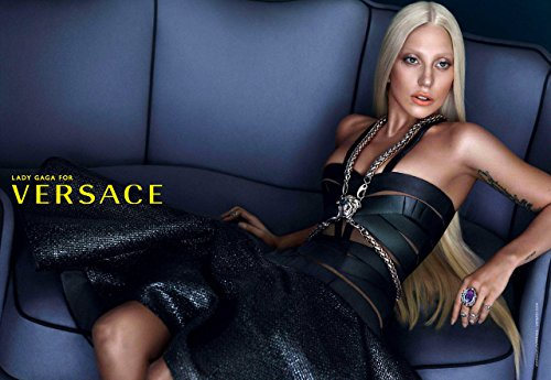 PRINT AD With Lady Gaga In Black Leather Bustier For - Versace Gaga