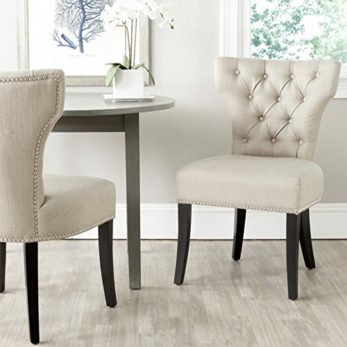 Safavieh Mercer Collection Dharma Dining Chair, Biscuit Beige and Black, Set of 2
