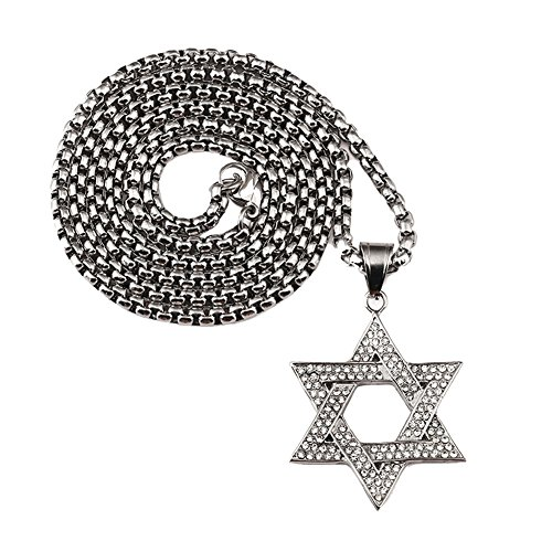 - Men's 316L Stainless Steel Religions Hexagram Necklace Shiny Zirconia Star of David Charm Pendant Silver