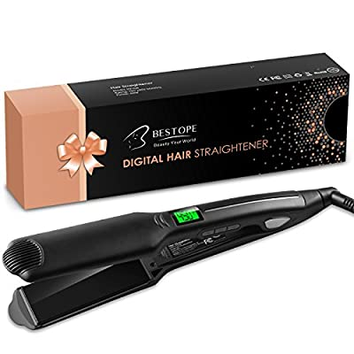 BESTOPE Hair Straightener Flat Iron for Hair Professional Ceramic Tourmaline Straightners Flat Irons with LCD Display, 450F Salon High Heat, Dual Voltage (1.75 INCH)