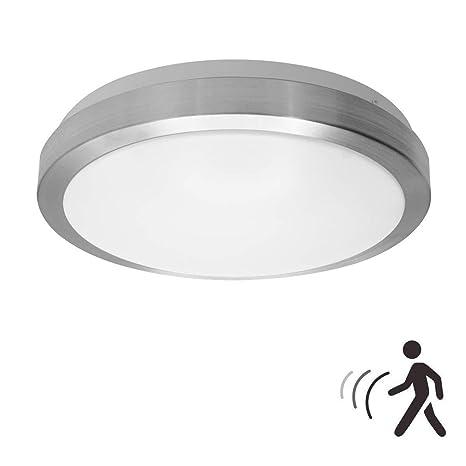 18W PIR LED Luz techo, noche de lámpara de pared con sensor de movimiento por radar LED, 1600LM, IP44, 5000K blanco natural, luz para el pozo de la ...