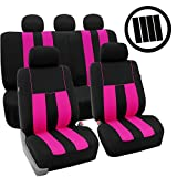 pontiac g6 airbag - FH Group Stylish Cloth (Airbag & Split Ready) Full Set Car Seat Covers Combo-FH2033 Steering Wheel Cover & Seat Belt pads, Pink/Black- Fit Most Car, Truck, Suv, or Van