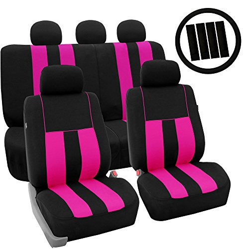 FH Group FH-FB036115 + FH2033 Combo Set: Striking Striped Seat Covers w. FH2033, Pink/Black Color- Fit Most Car, Truck, Suv, or Van