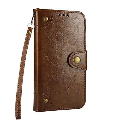 SRY-Bolsa para teléfono móvil IPhone 6 / 6s Case Premium Cierre magnético Funda de la cartera Funda con correa y ranuras para tarjetas para iPhone 6 / 6s ( Color : Red ) Brown