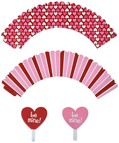 Kole Valentine's Day Cupcake Wraps and Toppers Set, Regular