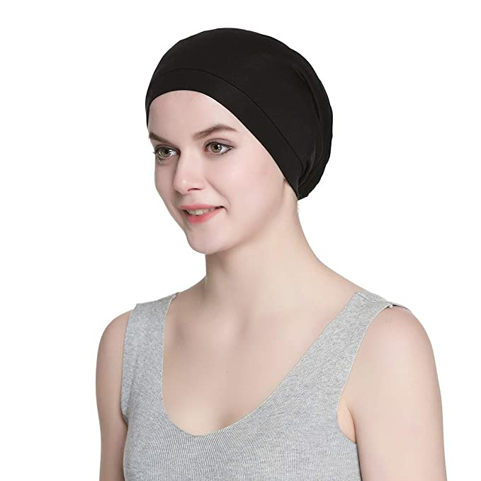 Alnorm Cozy Satin Lined Slouchy Beanie Cap with Soft Elastic Band ... be173b0b2c0