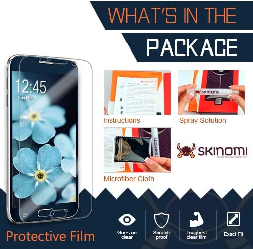 TechSkin with Anti-Bubble Clear Film Screen Protector Full Coverage Skinomi Black Carbon Fiber Full Body Skin Compatible with Microsoft Lumia 950