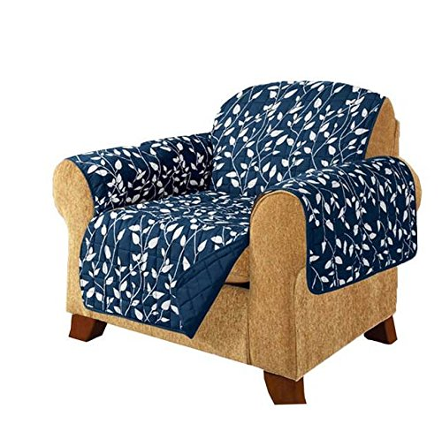 MN 1 Piece Navy Blue Floral Theme Chair Protector, Geometric Flower Pattern Couch Protection Flowers Floral Plants Leaves Furniture Protection Cover Pets Animals Covers Nature Motif, Polyester by MN