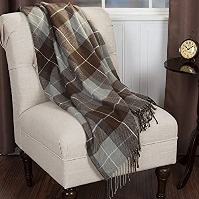 Bedford Home Cashmere Like Blanket Throw, Brown - Material: 100Percent Acrylic Pattern: plaid Style: cashmere-like - blankets-throws, bedroom-sheets-comforters, bedroom - 51jmCyaAV9L. SS400  -