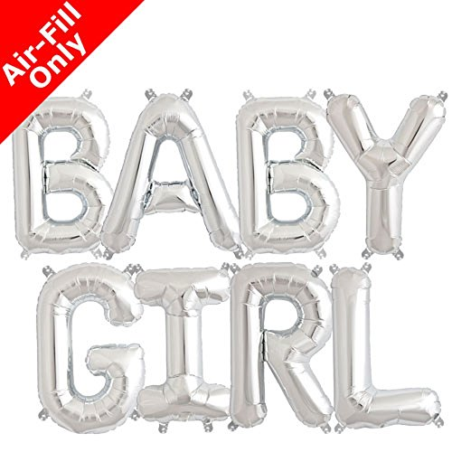 BABY GIRL Foil Letter Balloons Baby Shower GOLD, SILVER GOLD 3D Banner BABY GENDER REVEAL Parties Decorations (SILVER) -