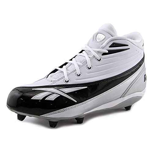 REEBOK MEN'S NFL 4-SPEED II MID D WHITE BLACK DETACHABLE FOOTBALL CLEATS 12.5 M
