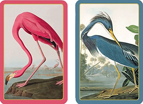 Game Bird Print - Caspari - Large Jumbo Print Double Deck of Bridge Playing Cards For Impaired Vision, Audubon Birds