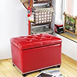DecentHome Rectangular Faux Leather Tufted Storage Bench Ottoman (Red) Review