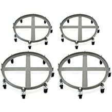 4 Drum Dolly 2000 lb 55 Gal Iron Swivel Casters Ultra Heavy Duty Steel Frame 8 Wheels