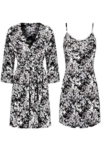 SofiePJ Women's Printed Chemise and Robe 2 Piece Sleepwear Set White Floral L