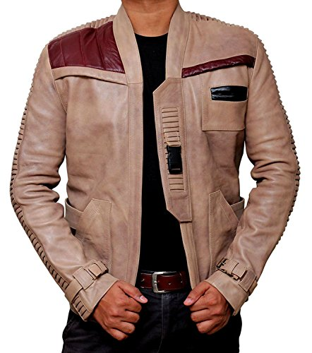 Poe Dameron Costume jacket by Blingsoul - Finn Real Leather jacket (M, Beige) (Finn Jake Costume)